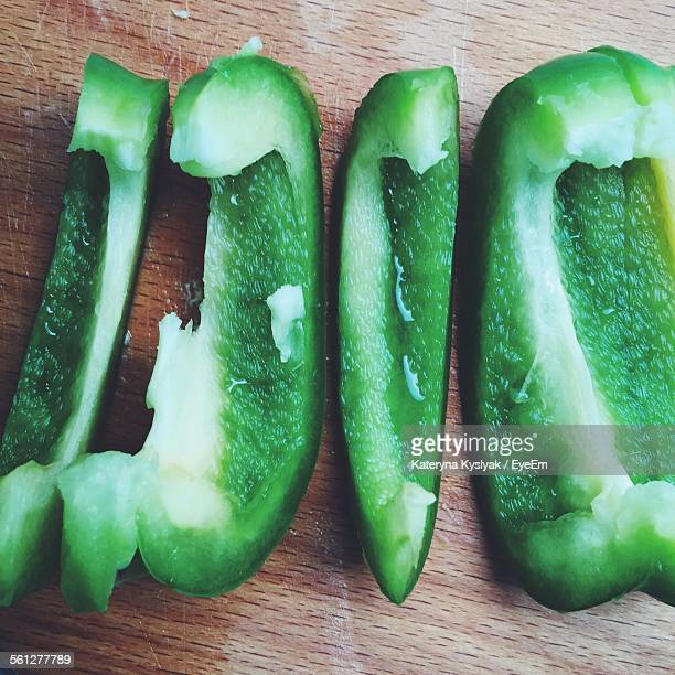 Close-Up Of Green Pepper Slices On Table