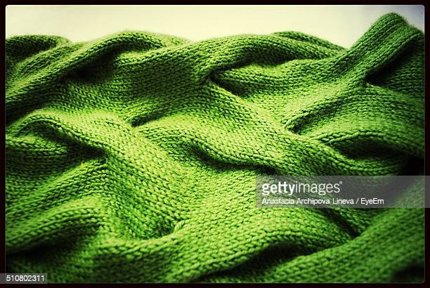 Close-up of green sweater