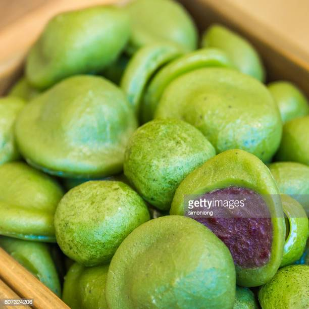 closeup of  green tea mochi - mochi stock photos and pictures