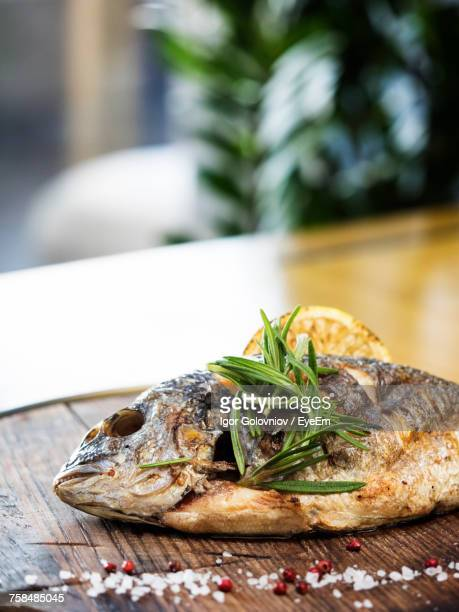 close-up of grilled gilthead bream garnish with herbs served in plate - igor golovniov stock pictures, royalty-free photos & images