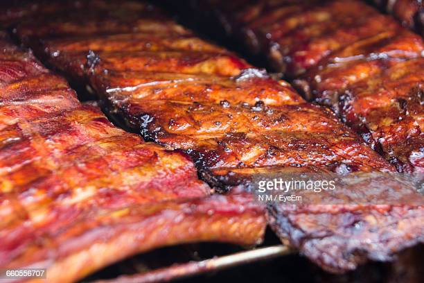 close-up of grilled pork ribs - sparerib stock photos and pictures