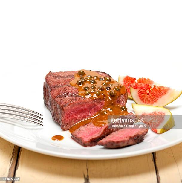 Close-Up Of Grilled Steak In Plate