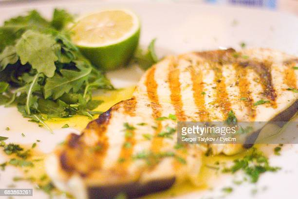 close-up of grilled swordfish in plate - swordfish stock pictures, royalty-free photos & images