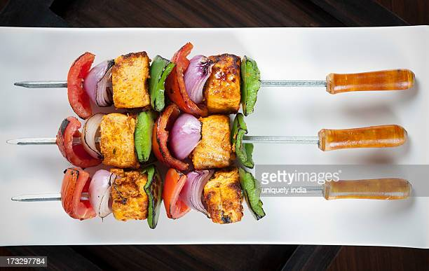 close-up of grilled vegetable kebab - vegetable kebab stock pictures, royalty-free photos & images