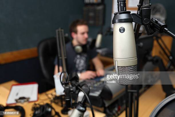 Close-up of guest microphone with blurred station background