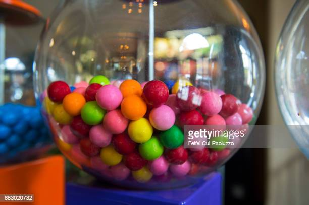 close-up of gumball machine at flagstaff, arizona state, usa - gumball machine stock pictures, royalty-free photos & images