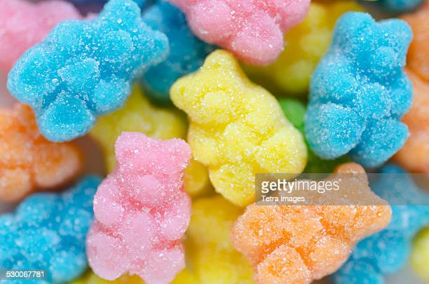 close-up of gummy bears - gummi bears stock photos and pictures