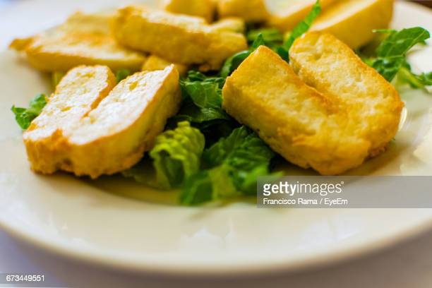 Close-Up Of Haloumi In Plate