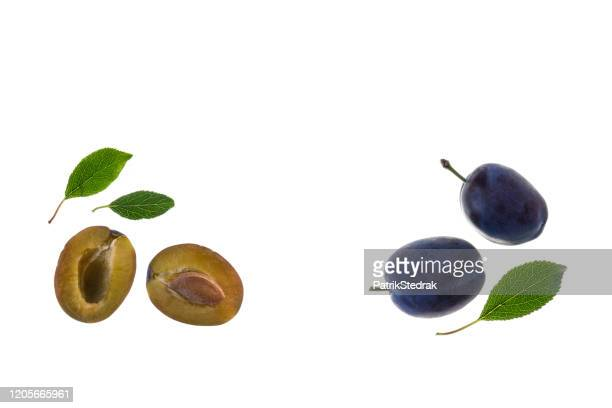closeup halved prune plums white background