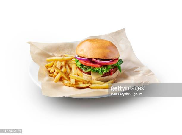 close-up of hamburger and french fries in plate against white background - burger stock pictures, royalty-free photos & images