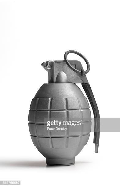 Close-up of hand grenade with copy space