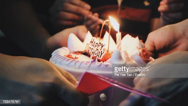 close-up of hand holding birthday cake - birthday cake lots of candles stock photos and pictures