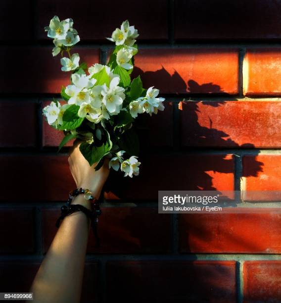 Close-Up Of Hand Holding Bouquet On Brick Wall