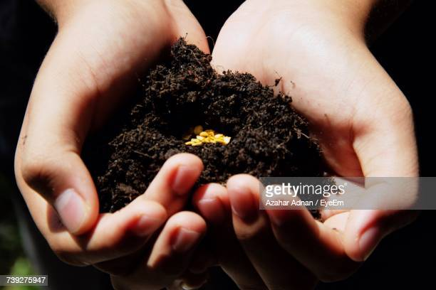 Close-Up Of Hand Holding Dirt