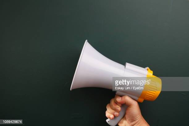 close-up of hand holding megaphone over white background - megaphone stock pictures, royalty-free photos & images