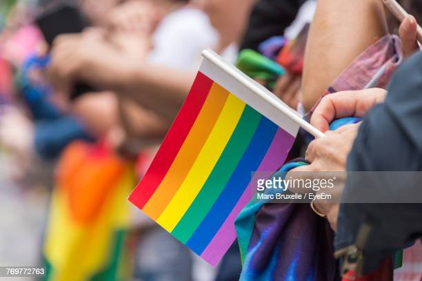 close-up of hand holding rainbow flag - lgbtqi pride event stock pictures, royalty-free photos & images