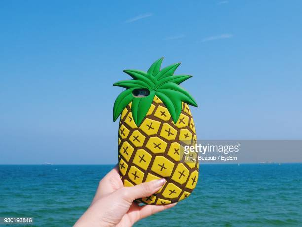 close-up of hand holding smart phone with pineapple shaped cover by sea - phone cover stock pictures, royalty-free photos & images