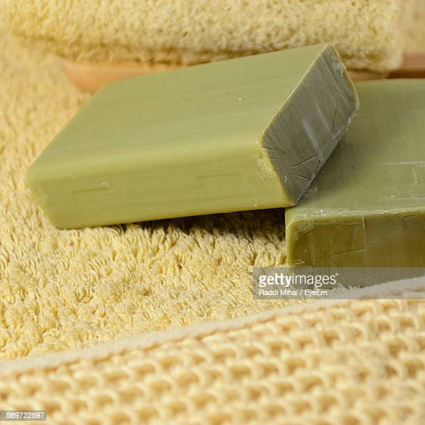 Close-Up Of Handmade Soap On Rug