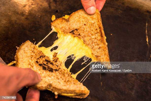 close-up of hands holding cheese sandwich - cheese stock photos and pictures