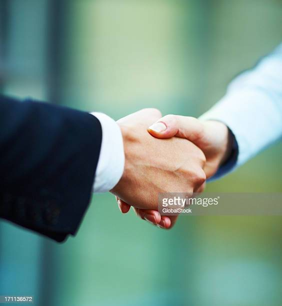 Close-up of hands shake between two business people