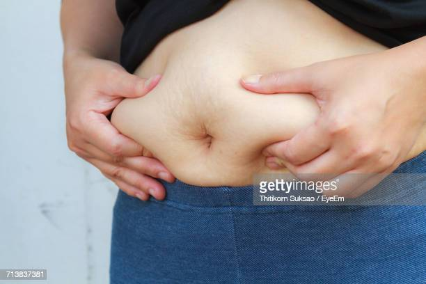 Close-Up Of Hands Touching Belly