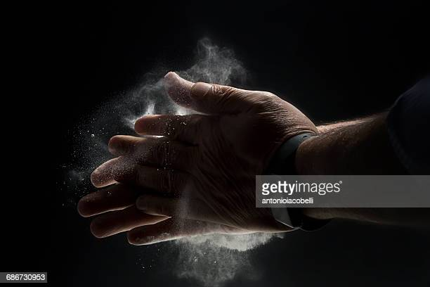 close-up of hands  with  talcum powder - soapstone stock pictures, royalty-free photos & images