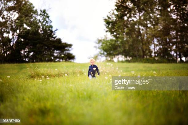 close-up of happy boy wearing hat standing amidst plants - mid distance stock pictures, royalty-free photos & images
