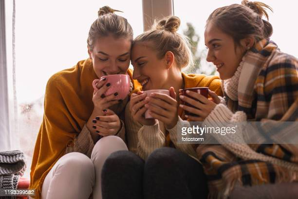 close-up of happy close female friends sharing cozy time - hot teen stock pictures, royalty-free photos & images