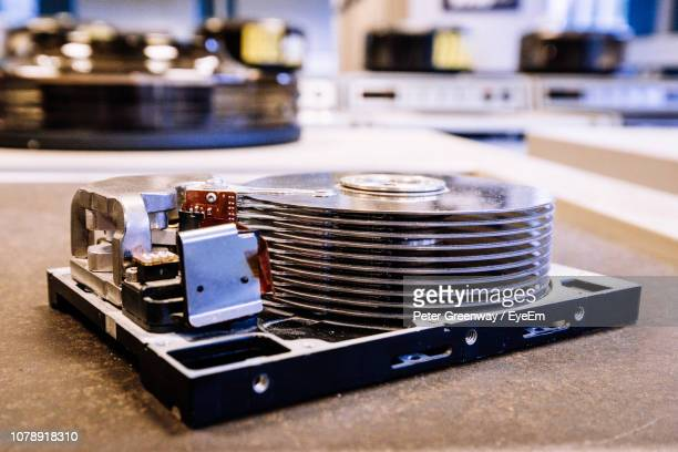 close-up of hard drive on table - bletchley park stock pictures, royalty-free photos & images