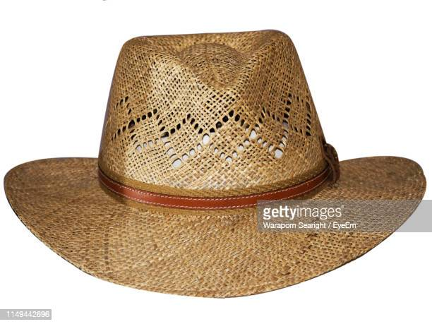 close-up of hat against white background - straw hat stock pictures, royalty-free photos & images