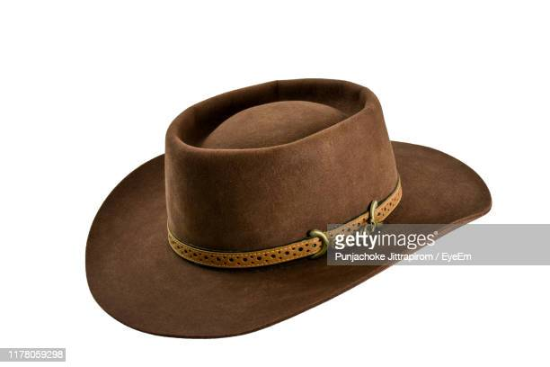 close-up of hat against white background - brown hat stock pictures, royalty-free photos & images
