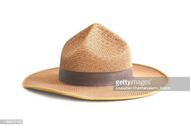 close-up of hat against white background - white hat fashion item stock photos and pictures