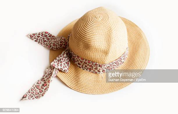 close-up of hat against white background - sun hat stock pictures, royalty-free photos & images