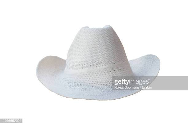 close-up of hat over white background - cowboy hat stock pictures, royalty-free photos & images