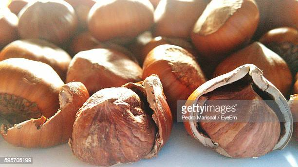Close-Up Of Hazelnuts On Table
