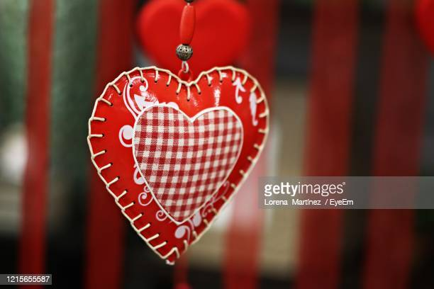 close-up of heart shape decoration hanging - lorena day stock pictures, royalty-free photos & images