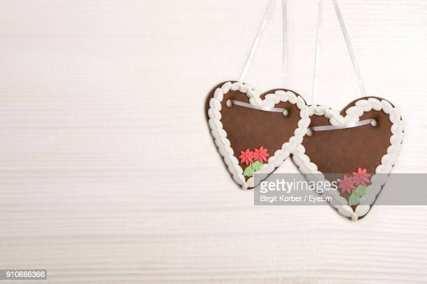 Close-Up Of Heart Shape Gingerbread Cookies On Table