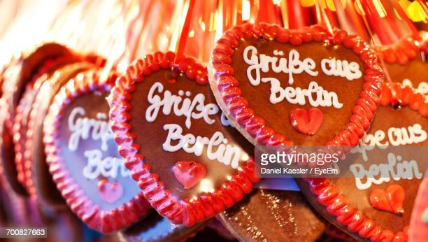 Close-Up Of Heart Shape Gingerbreads With Text For Sale At Market