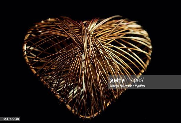 Close-Up Of Heart Shape Made Of Metal Cable