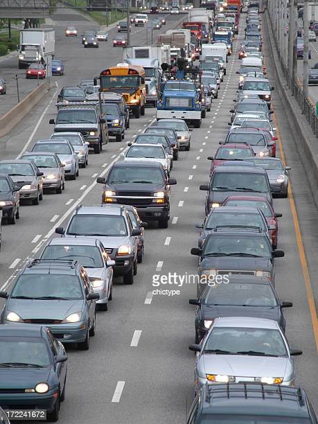 Close-up of heavy traffic jam on highway