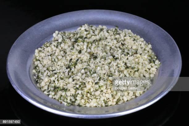 Close-up of Hemp seeds in a dish (cannabis sativa)