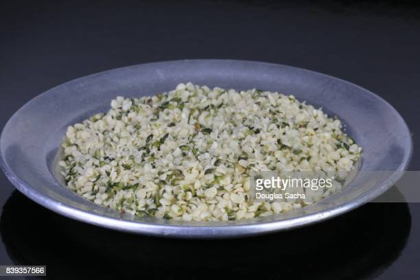 Close-up of Hemp seeds (cannabis sativa)