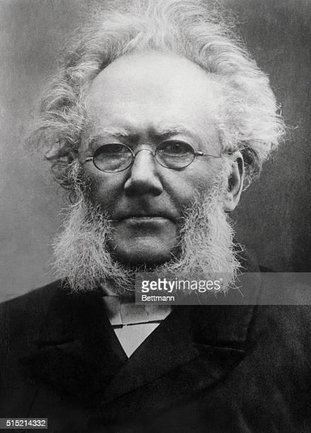 Close-up of Henrik Ibsen Norwegian novelist and playwright. Photo ca. 1896.