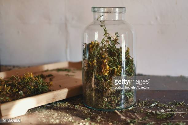 close-up of herbal medicine in jar - marijuana herbal cannabis stock pictures, royalty-free photos & images