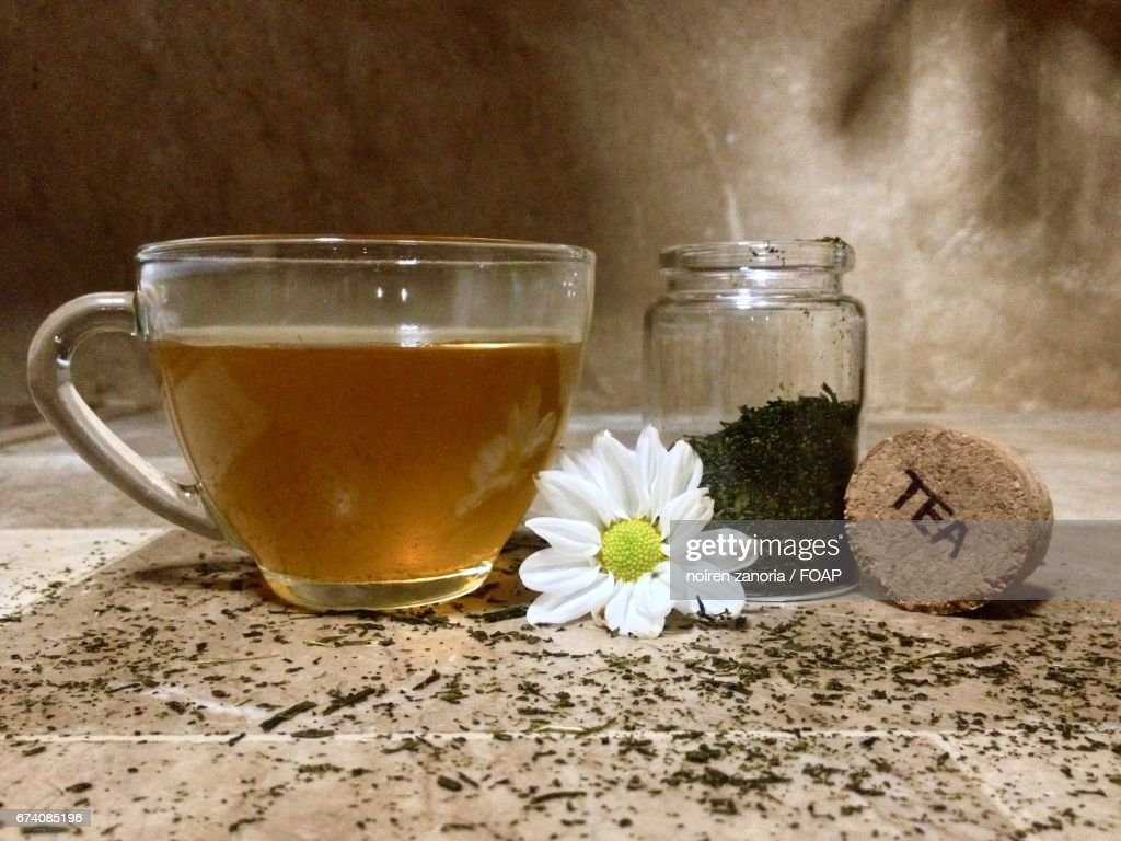 Closeup Of Herbal Tea With Daisy Flower Stock Photo Getty Images