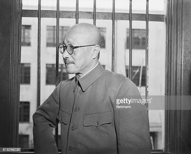 Closeup of Hideki Tojo war crimes suspect scheduled to appear on the witness stand 12/26 to explain the Japanese version for reasons for the...