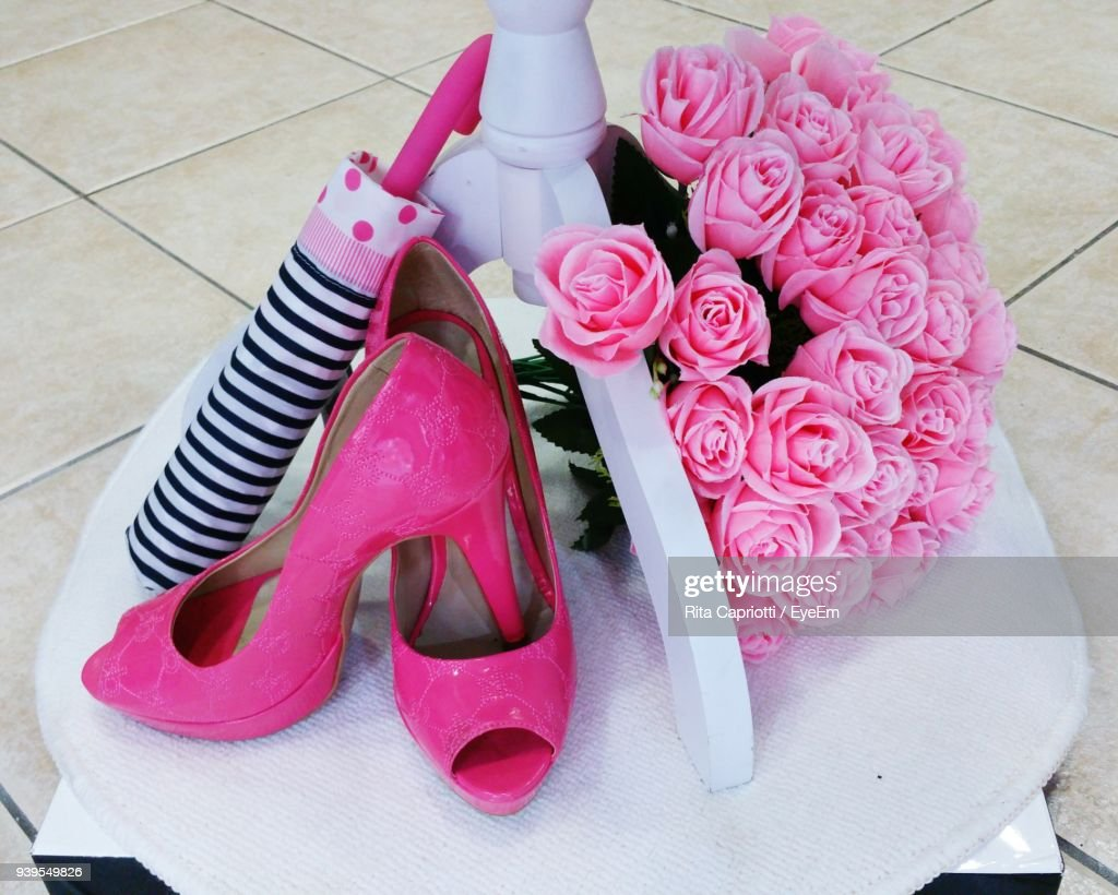 Closeup Of High Heels With Flowers On Floor Stock Photo Getty Images