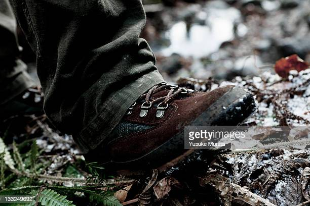 Close-up of hiker's boots on mountain trail