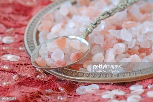 Close-Up Of Himalayan Salt In Plate On Table