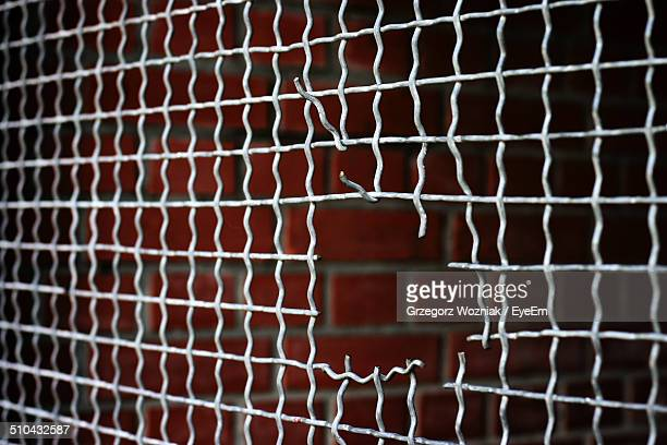 Close-up of hole in wire mesh fence